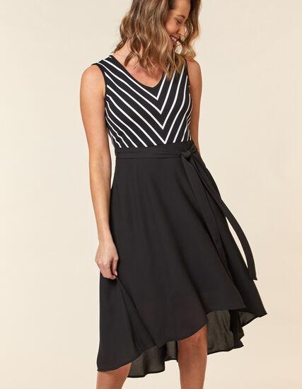Black Printed Chiffon Dress, Black, hi-res
