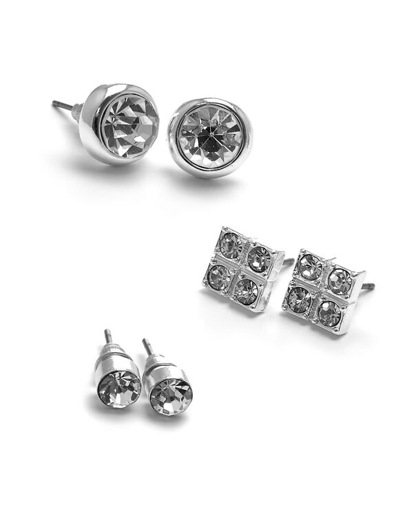 Silver Crystal Stud Earring Trio Set, Silver, hi-res
