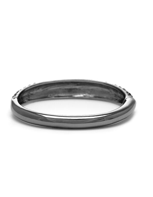 Black Crystal Hinge Bracelet, Black, hi-res