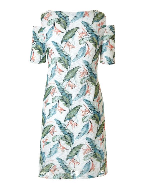 Palm Printed Cold Shoulder Dress, Palm Print, hi-res