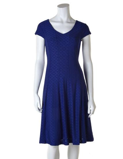 Blue Eyelet Fit and Flare Dress, Blue, hi-res