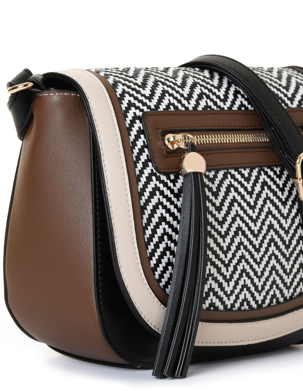 Brown Twill Saddle Handbag, Brown/Black, hi-res