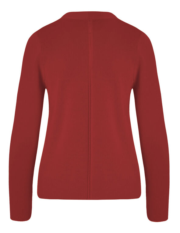 Red Crepe Open Mid Cardigan, Red, hi-res