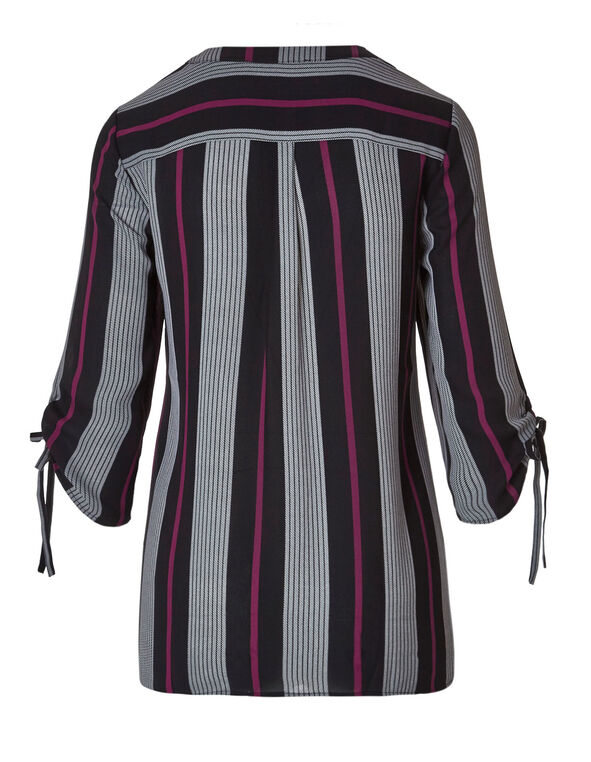 Sangria Striped Ruched Blouse, Black/Sangria/White, hi-res