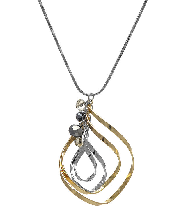 Tri-Tone Spiral Long Necklace, Silver/Gold/Hemi, hi-res