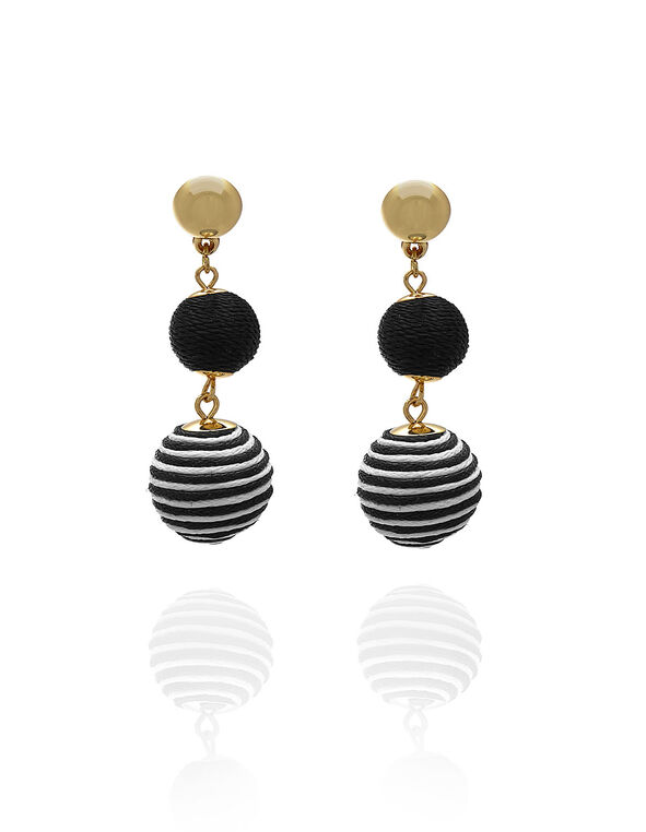 Black Patterned Bobble Earring, Black, hi-res