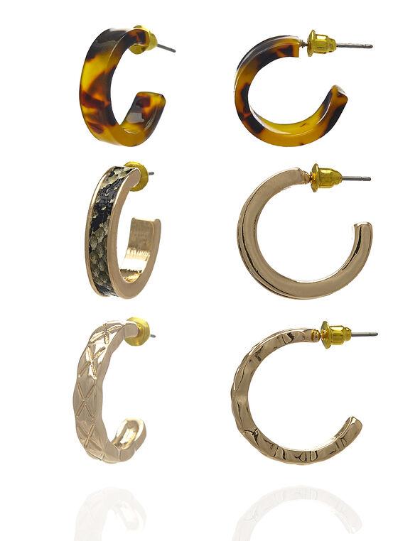 Gold Animal Hoop Trio Earring, Gold/Brown/Grey/Black/Yellow, hi-res