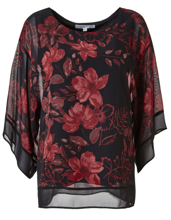 Red Floral Wide Sleeve Blouse, Black/Red, hi-res