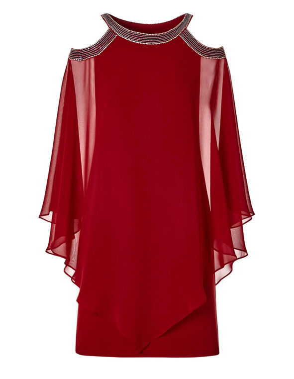 Red Bling Shift Dress, Red, hi-res