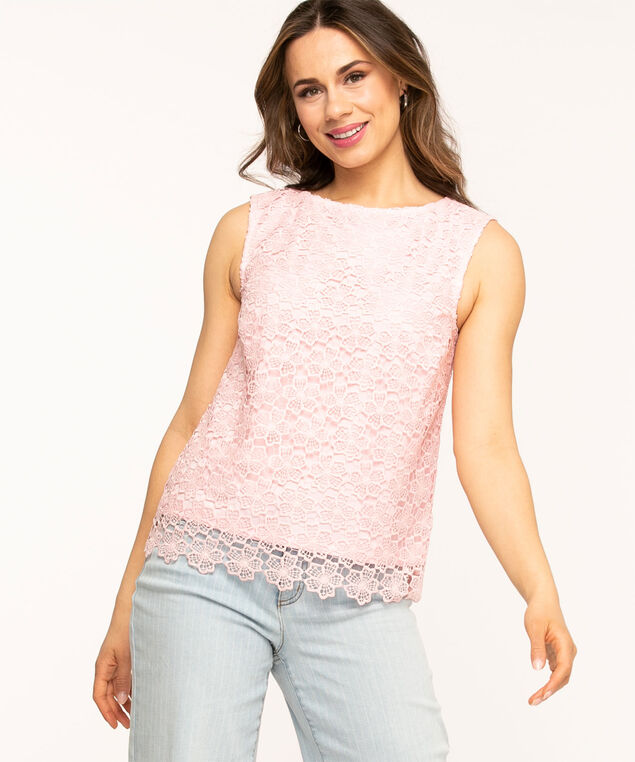 Sleeveless Lace Overlay Blouse, Pink