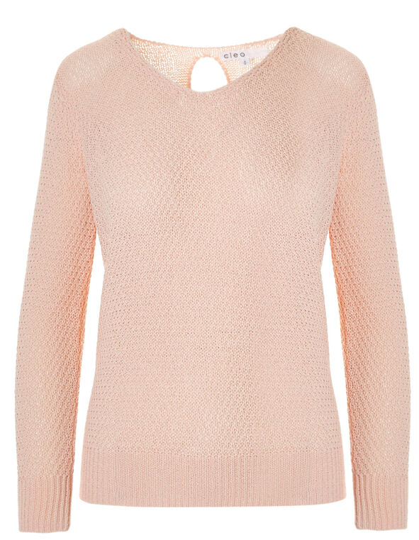 Seashell Pink Cable Stitch Sweater, Seashell Pink, hi-res