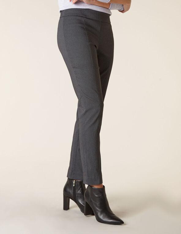Black Patterned Pull On Pant, Black, hi-res