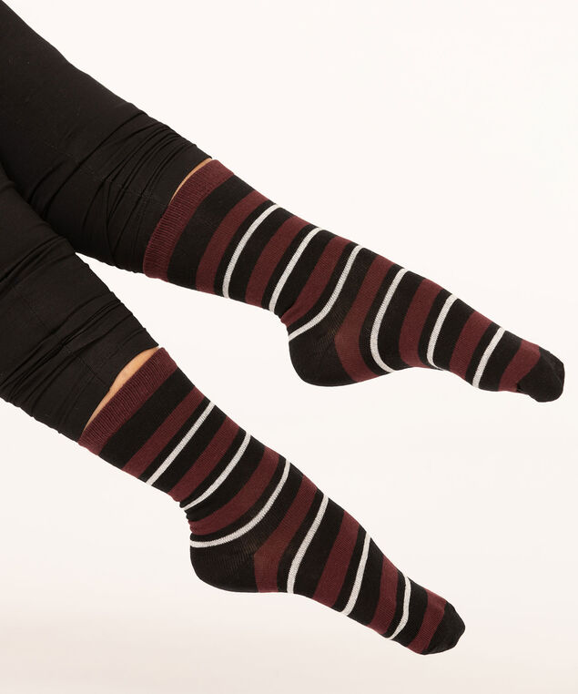 Black Stripe Crew Sock, Black/Mulberry/Pearl, hi-res