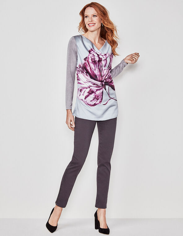 Grey Floral Placement Printed Top, Grey/Pink, hi-res