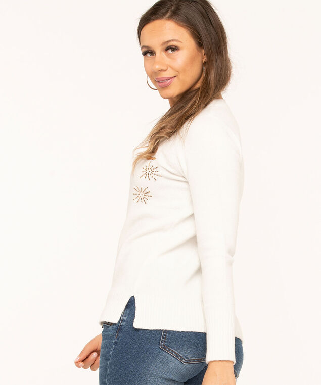 "Recycled Ivory ""Celebrate"" Sweater, Ivory/Gold, hi-res"