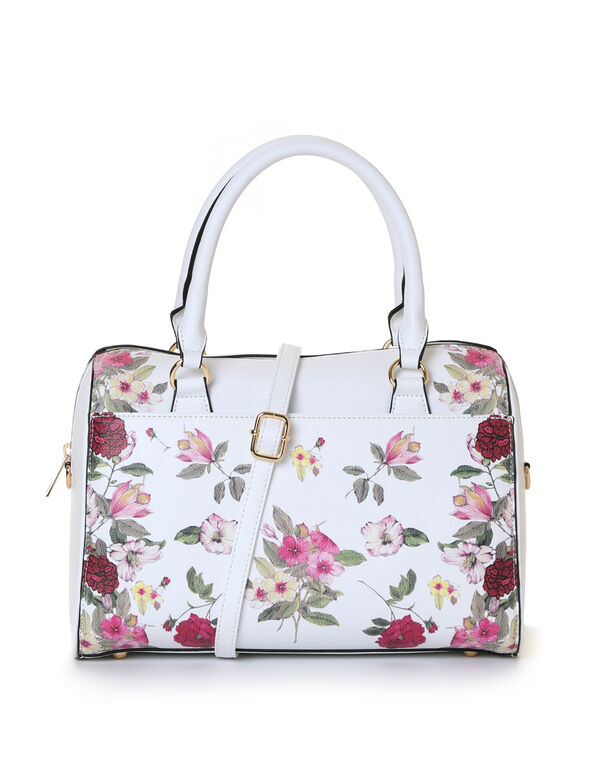 White Floral Barrel Handbag, White, hi-res