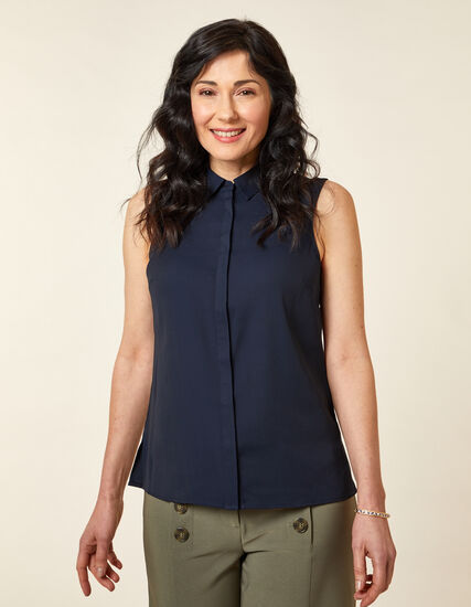 Collared Button Blouse, Navy, hi-res