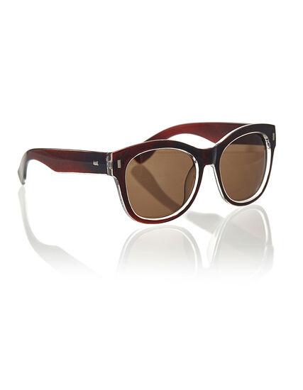 Brown Large Frame Sunglasses, Brown, hi-res
