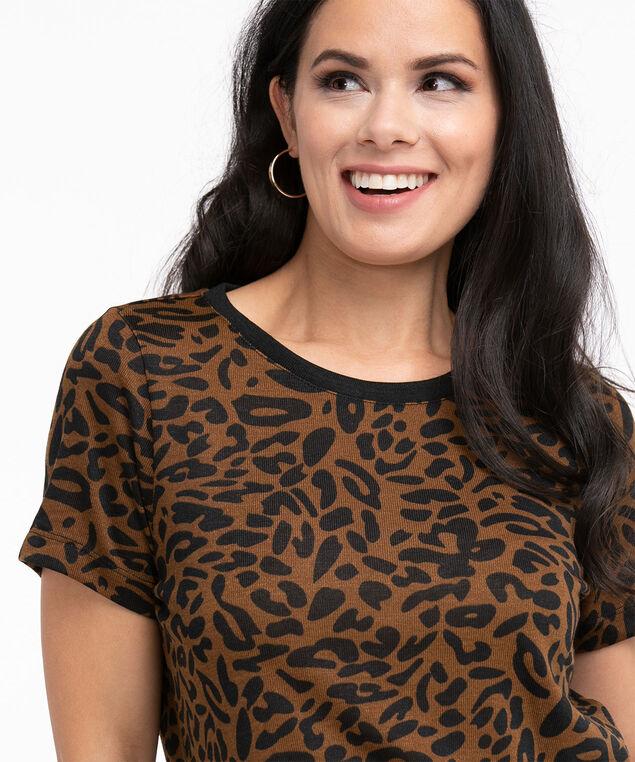 Animal Print Short Sleeve Hacchi Top, Animal Print