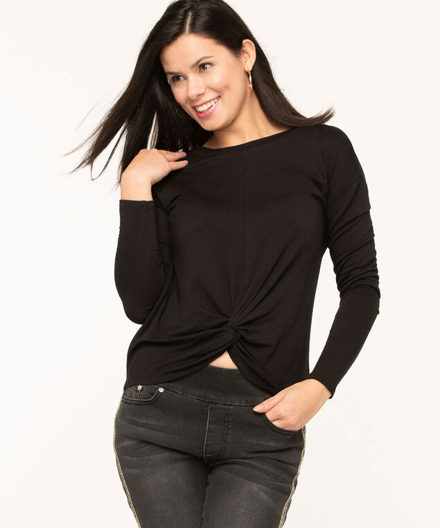 Black Twist Front Hacchi Top, Black, hi-res
