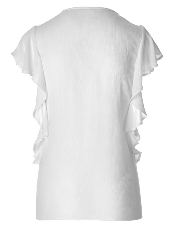 White Flutter Sleeve Blouse, White, hi-res