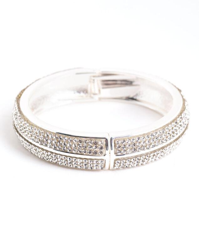 Rhinestone Hinge Bracelet, Silver