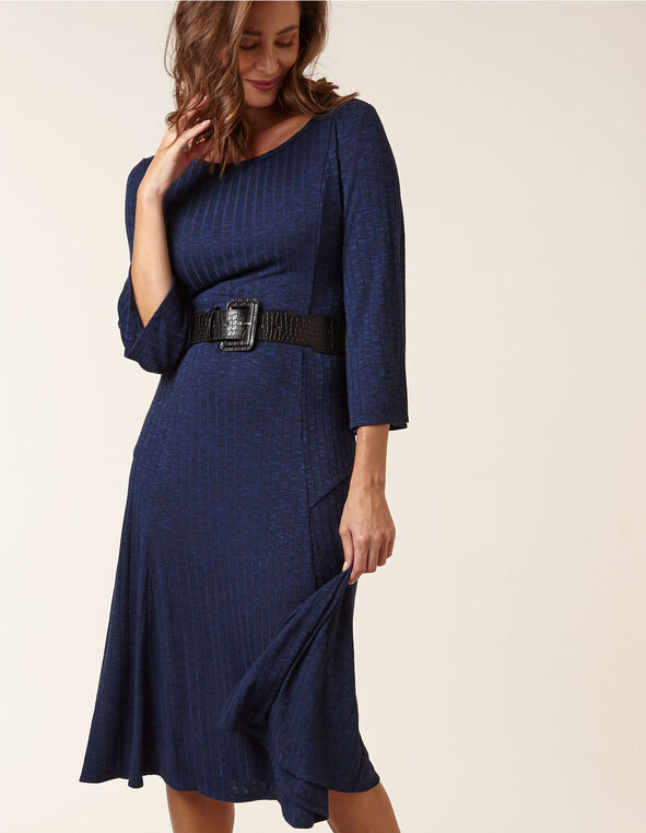 Navy Hacchi Fit & Flare Dress, Navy, hi-res