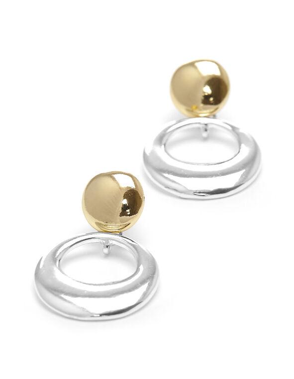 Gold & Silver Circular Earring, Silver, hi-res