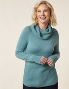 Light Teal Cowl Neck Sweater, Turquoise, hi-res