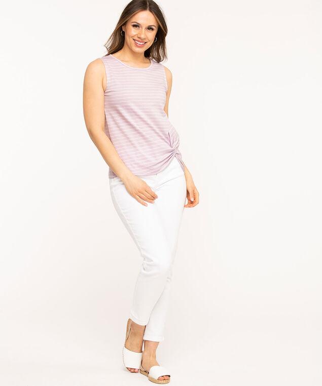 Sleeveless Scoop Neck Twist Hem Tee, Light Purple/White Stripe