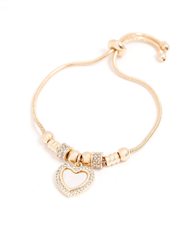 Adjustable Gold Heart Charm Bracelet, Gold
