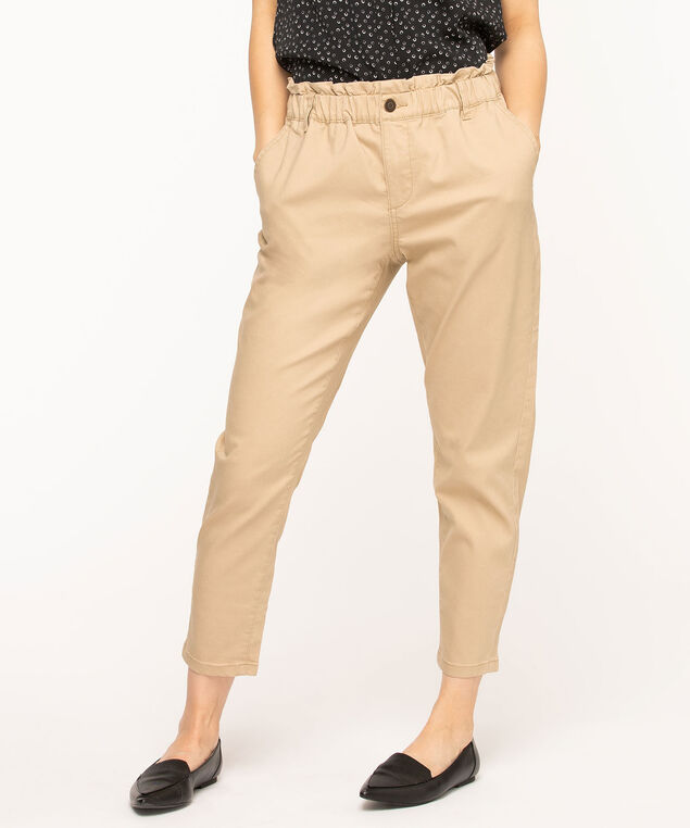 Paper Bag Waist Ankle Pant, Tan