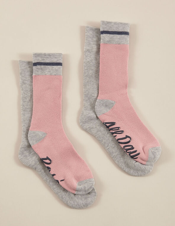 Pink & Grey Sock Pack, Pink/Grey, hi-res