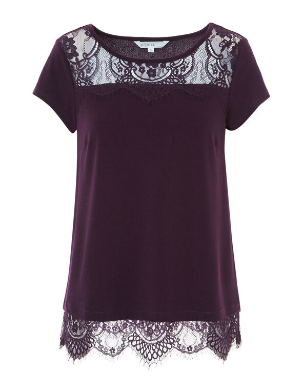 Dark Purple Lace Detail Top, Dark Purple, hi-res