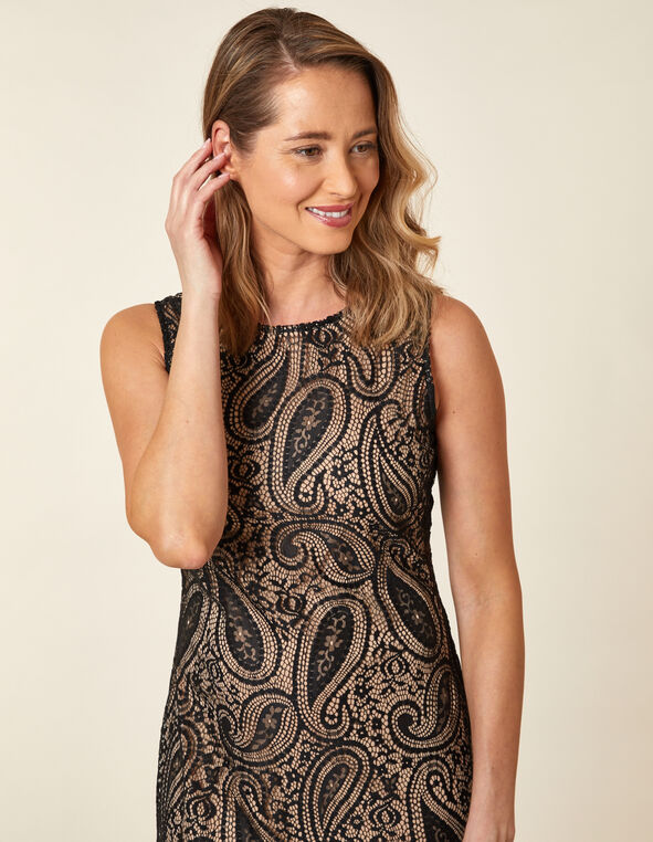 Black Paisley Lace Sheath Dress, Black, hi-res