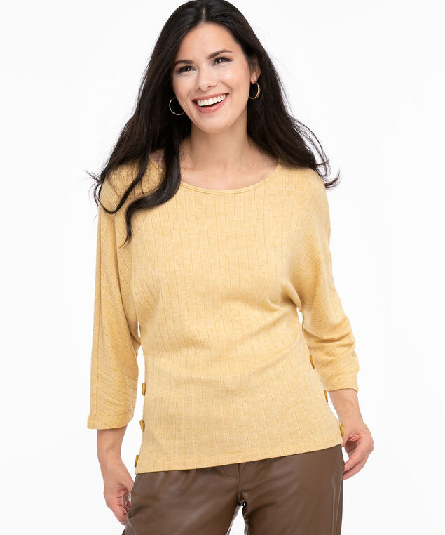 Ribbed Hacchi Knit Top, Ochre Mix