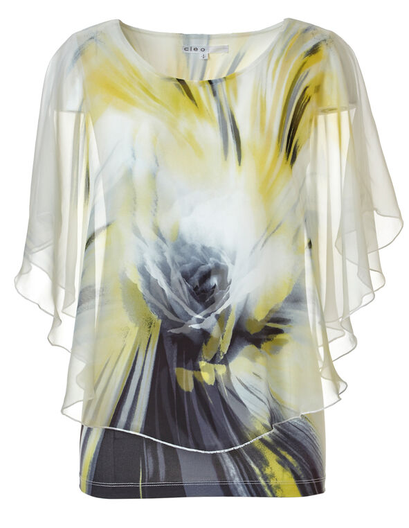 Yellow Patterned Caftan Blouse, Yellow Pattern, hi-res