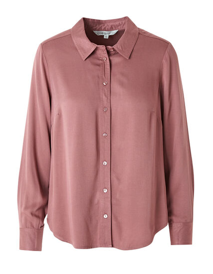 Rose Button Front Collared Blouse, Rose, hi-res