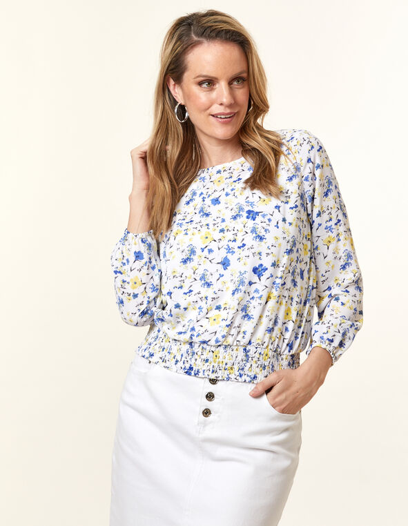White Floral Sheer Blouse, White, hi-res