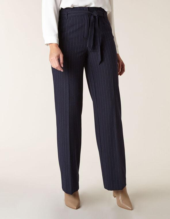 Navy Striped Soft Belted Trouser, Navy, hi-res