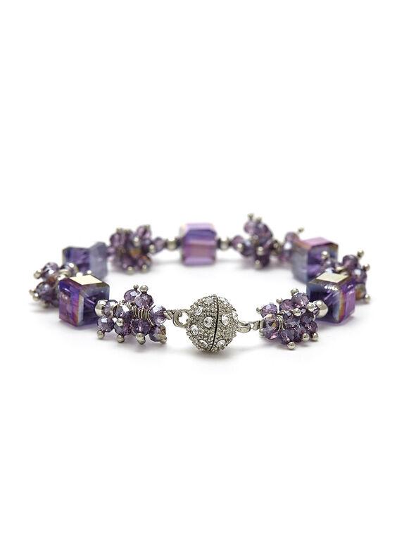 Purple Beaded Magnetic Bracelet, Purple, hi-res