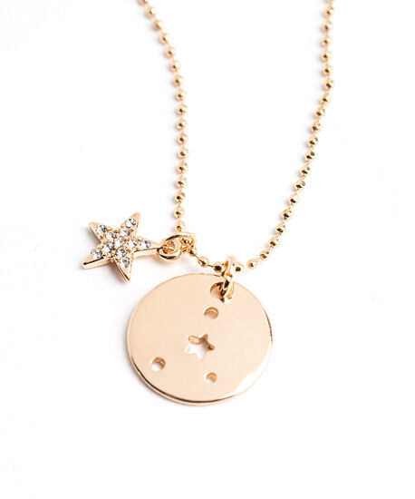 Gold Zodiac Disc Pendant Necklace, Cancer, hi-res