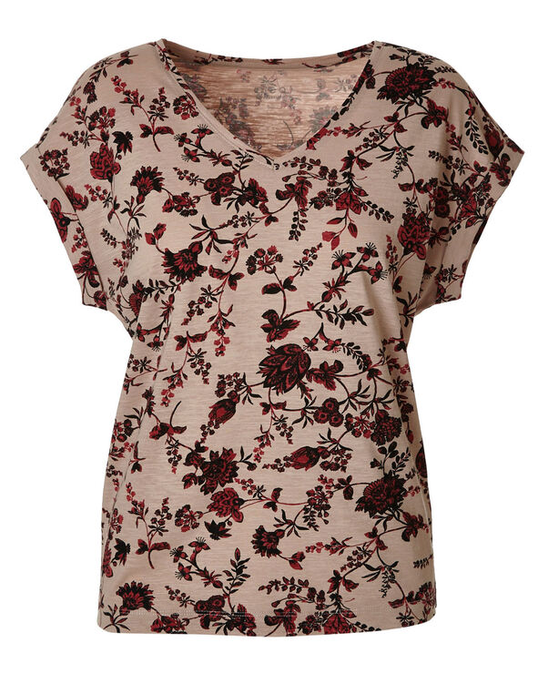 Pink Floral Cotton Tee, Pink, hi-res