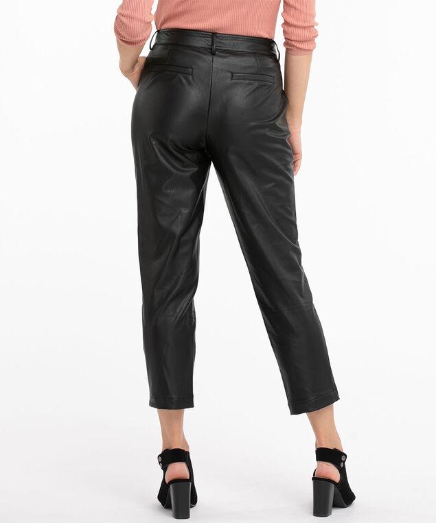 Black Vegan Leather Crop Pant, Black