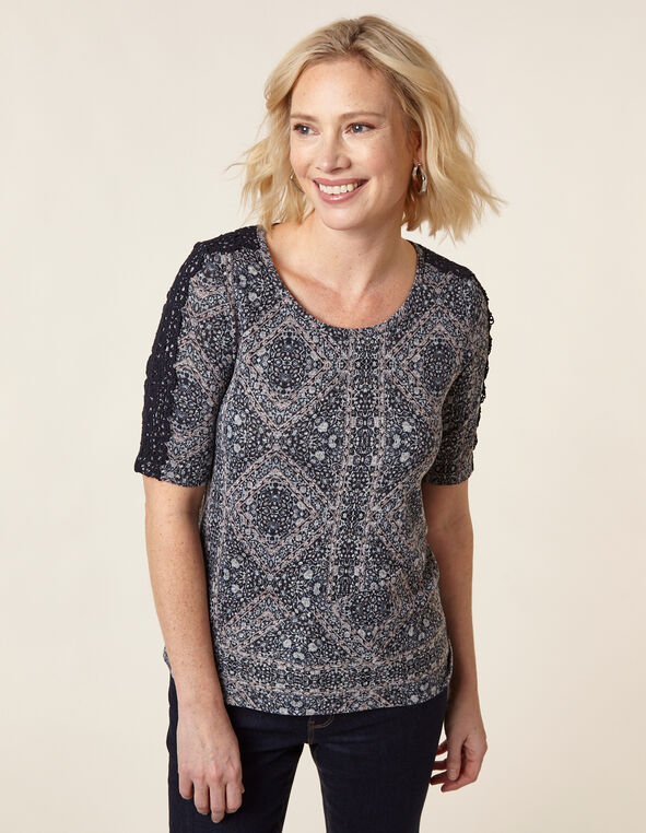 Printed Hacchi Top, Navy, hi-res