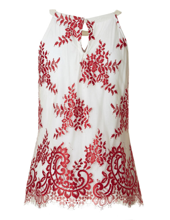 Red Lace Overlay Halter Top, Red/White, hi-res