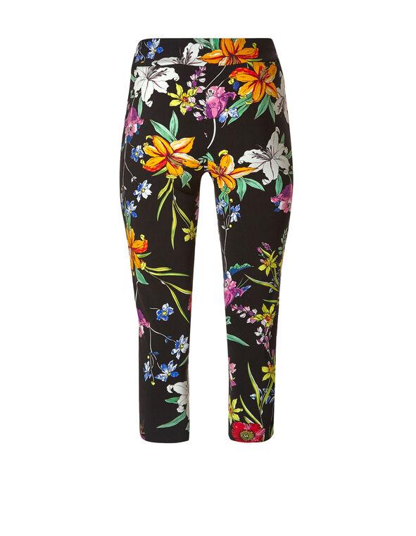 Black Floral Pull On Capri Pant, Black, hi-res