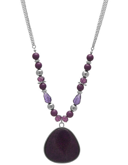 Berry Stone Short Statement Necklace, Purple/Silver, hi-res