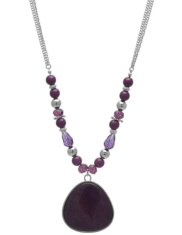 Berry Stone Short Statement Necklace, Purple/Silver, hi-res