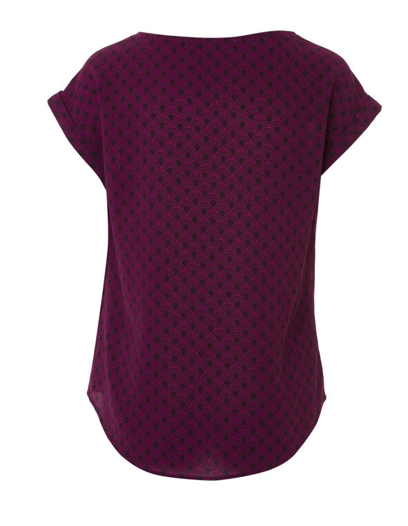 Fuchsia Patterned Crepe Blouse, Fuchsia, hi-res